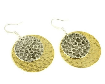 Silver and Gold Earrings, Hammered  Earrings, Disc Earrings, Gold and Silver Earrings, Round Earrings