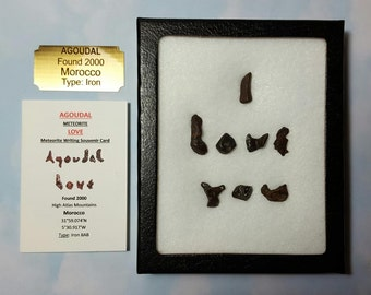Sale Agoudal Meteorite I LOVE YOU Extraterrestrial Meteorite Writing Art Genuine Outer Space Rocks In Display Case Fell 2000 Morocco