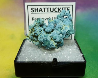 Sale SHATTUCKITE Natural Bright Blue Mineral Specimen In Perky Box From Namibia