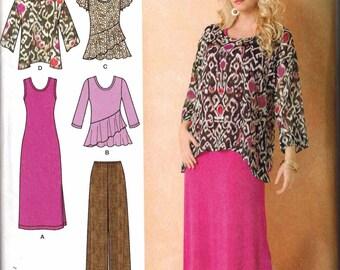 Womens Sewing Pattern PLUS SIZE Simplicity 1622 Sizes 20-22-24-26-28 Khaliah Ali Dress Vest Tunic Top Pants
