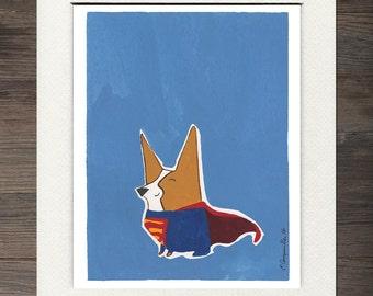"Corgi ""Super-Corg"" Matted Art Print"