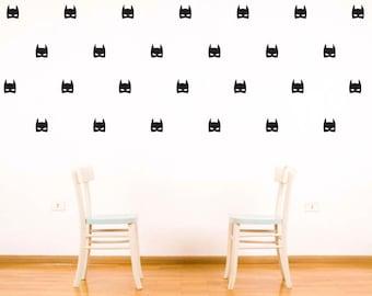 Batman Super Hero Masks Wall Decal - Vinyl Wall Sticker Marvel Superhero - Boys Bedroom Decor - Batman Wall Art Print Collage - CB171