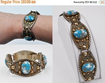 ON SALE Vintage Mexico Silver & Blue Stone Panel Bracelet, Hecho en Mexico, Intricate, Multicolor, Link, Gold Wash, Stunning! #b363