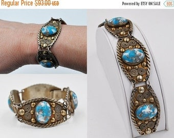 Vintage Mexico Silver & Blue Stone Panel Bracelet, Hecho en Mexico, Intricate, Multicolor, Link, Gold Wash, Stunning! #b363