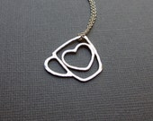 Coffee Cup Heart Charm Necklace Hammered Argentium Sterling Silver Gift for Mom Coffee Mug