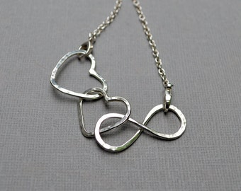 Centerpiece Links, Hearts & Infinity Necklace, Hammered Argentium Sterling Silver Statement Necklace, Figure 8, Gift for Mom, Mama Metal