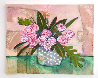 Home Decor, Flower Home Decor, Flower Wall Art, Floral Art, Gift For Her, Flower Painting, Roses, Pink Roses, Flower Print, Original Artwork