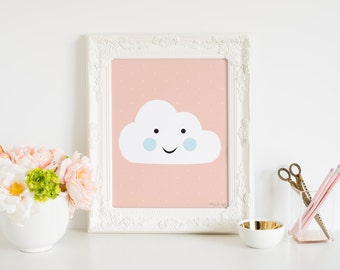 Cloud Print, Happy Cloud Nursery Printable Digital Art, Home Decor Wall Art Pink Gallery Wall Artwork in Instant Download for Girls Room