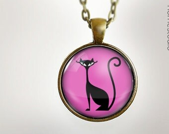 Fab Feline PNK : Glass Dome Necklace gift present by HomeStudio. Round art photo pendant jewelry. Available as Key Ring Keychain