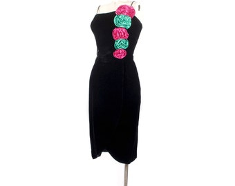 Vintage 80s Dress - 80s Prom Dress - 80s Party Dress - Black Velvet Dress - Black Party Dress - Pink Green - Black Wiggle Dress - Velvet