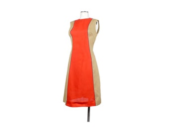 Vintage 60s Dress - 60s Shift Dress - 60s Color Block Dress - 60s Sleeveless Dress - Tan Red Purple - Mod Shift Dress - Gay Gibson Dress