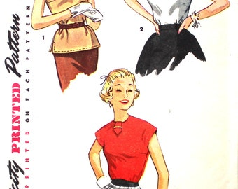 UNCUT Simple to Make Set of 1950's Blouses Bust 36 Size 18 Simplicity 4434