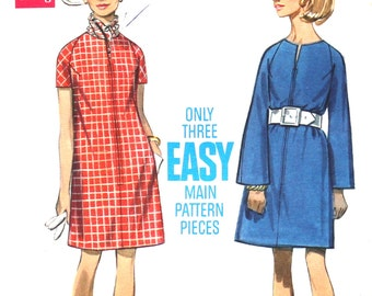 Easy Loose Fitting Dress with Bell Shaped Raglan Sleeves Bust 36 Butterick 5170 Size 14