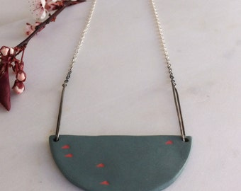 Silver and Porcelain Bib Necklace