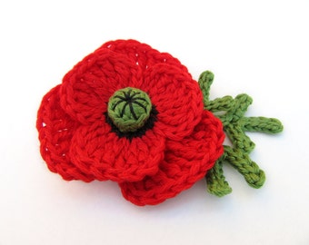 Poppy brooch,crochet brooch,flower brooch,fiber brooch,crochet jewelry,gift for her,giada cortellini,nature inspired,red,boho,folk,hippie