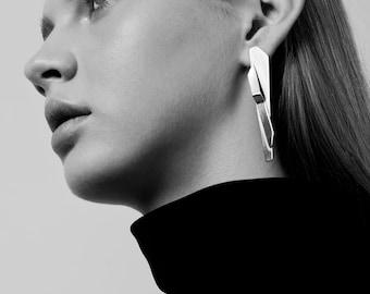 Karla Earrings, Long Post Earrings, Geometric Silver Earrings, Silver Statement Earrings, Long Silver Earrings, Geometric Earrings