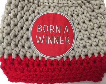 Baby // Crochet Hat // Ohio College // Team Color // Scarlet, Grey // Handmade // BORN A WINNER //
