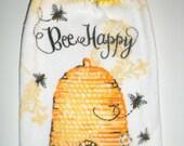 Bee Hive Hanging Towel - Crochet Top Towel - Bee Happy Towel - Honey Bee Towel - Thick Plush Towel - Hanging Tea Towel - Kitchen Dish Towel