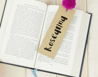Pom Pom Bookmark, Personalised Book Mark, Reader Gift, Name Bookmark, Custom bookmark, Book Lover gift, Book Worm gift, Library Book Gift