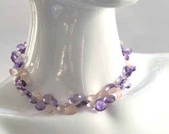 Purple Amethyst and Pink Rose Quartz Briolette Choker Necklace