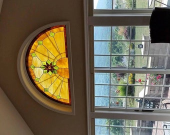 """Stained glass Arched Window - """"Central Flower"""" (W-122)"""