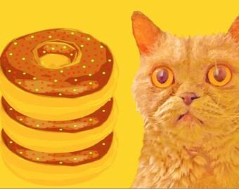 cat doughnuts  Art Print by Giraffes and Robots