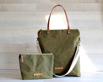 on sale!! - Waxed Canvas Tote Bag, UNISEX Tote Bag, OLIVE GREEN Tote, Waterproof Tote Bag, Leather Straps, Women Bag, Men Bag, Laptop Bag
