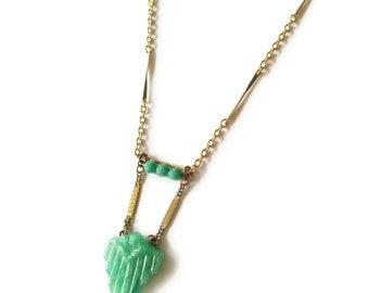 Jade Green Necklace Arrow Pendant - Mint Green Necklace - Boheme Necklace (SD1086)