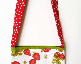 """Children's Cotton Bag/Purse, Strawberries 9"""" x 8"""""""