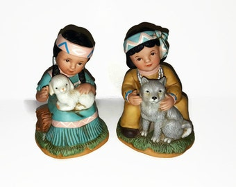 Vintage HOMCO Native American Boy with Wolf Pup Girl with Lamb - Porcelain Figurines - Series #1428