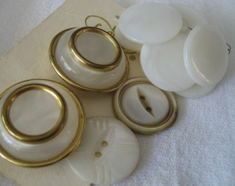 Lot Set of 11 VINTAGE Shell & Faux Shell BUTTONS