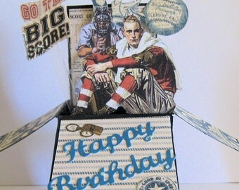 Vintage sports Birthday Pop up card - Card in a Box - Masculine birthday