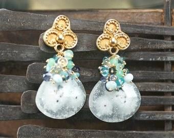 Solar Quartz earrings, Iolite, Larimar, Apatite, Indicolite Tourmaline, Chrysoprase, Moss Aquamarine, Vermeil Ear Posts ... KIMI Earrings