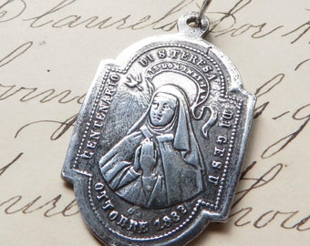 St Teresa / Theresa of Avila Medal - Patron of sick people-Antique Reproduction