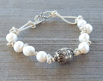 Sterling Silver Pearl Bracelet White Leather Cord With Ornate Fine Silver Bali Focal Bead