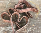 Vintage Iron Metal Primitive Heart Charm Lot #G, set of 4, Charms from antique heart mat, Upcycled, Steampunk Supplies, Vintage Valentine