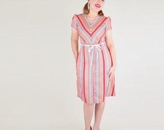 NOS 70s Desert Stripe Front Zip House Dress S M