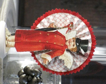 Vintage Inspired  Victorian Valentine CUPID Standing on a Spool Rosette Valentine's Day