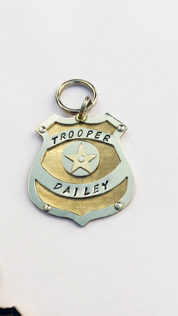 Unique Police Badge Dog Tag Custom Hand Stamped Dog Collar