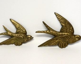 RESERVED - Pair of Brass Swallow Wall Decorations