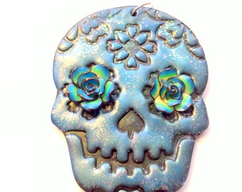 Blue Green Black Sugar Skull and Roses Day of the Dead Ornament or Decoration