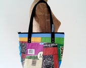 Tote Bag with Zip Top, Patchwork Recycled Feed Bag, eco-friendly, Maine-made gift