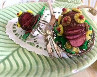 Tiny Ham Dinner Polymer Clay Statement Ring