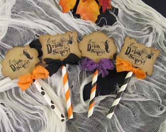 Halloween Deluxe Cupcake Toppers - Set of 12 - Eat Drink and Be Scary - Halloween Wedding Trick or Treat All Hallows Eve