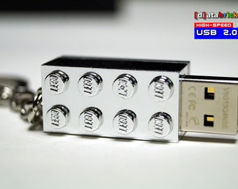 Chrome Silver USB Stick in original Lego® 2x4 Brick Keychain