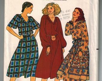 Vintage 70s Misses Dress & Overskirt Sewing Pattern Size 6 Bust 30 1/2 Loose Fitting Below Knee Dress V Neck Long or Short Raglan Sleeves