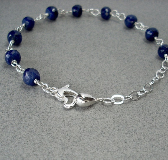"Blue Sapphire Bracelet: Sterling Silver wire wrapped links, big natural gemstone rondelles, September birthstone, heart clasp, navy, 6.5""-8"""