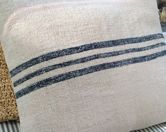 Vintage GrainSacK Down Feather Pillow French CoTTagE SHaBBy CHiC Blue Stripe Rustic
