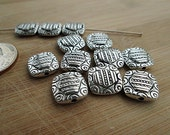 Metal Beads, Silver Metal Spacers, Silver Square Beads, Abstract Design, Double Sided, Small Silver Bead, 13x13mm, QTY 12 bm84