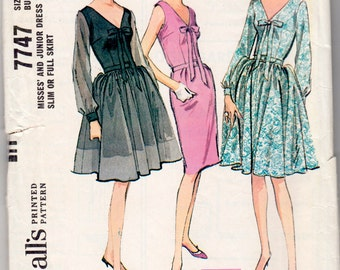 Vintage Sewing Pattern McCall's 7747 Misses' Party Dress 1960's 34 Bust - With FREE Pattern Grading E-Book Included